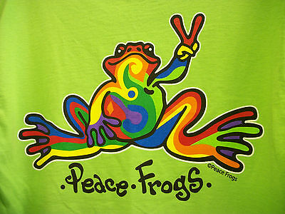 Peace Frogs Frog Retro Adult Lime X-Large T-Shirt