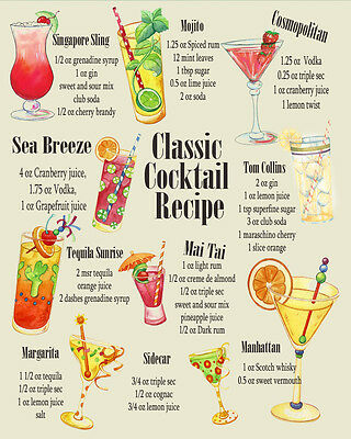 Classic Cocktail Recipes VINTAGE ENAMEL METAL TIN SIGN WALL PLAQUE