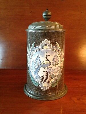 18th Century German Faience Ceramic Beer Stein Pewter Lid Joseph II (1741-1790)