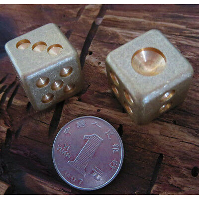 2pcs Solid Brass Game Cards Casino Dice Mahjong Dice Fashion Home Decoration