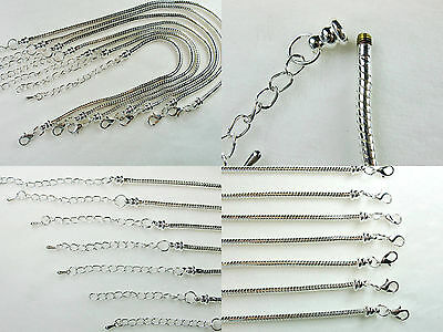Silver Plated 3mm Snake Chain w/Screw End European Style Charm Bracelets