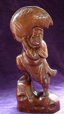 "Antique Chinese Rosewood Hand Carved Fisherman Statue W/ Large Carp Fish 12""H"