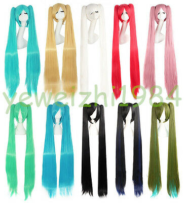 Good Quality 100 cm Long Vocaloid Hatsune Miku Straight 2 Ponytails Cosplay Wig