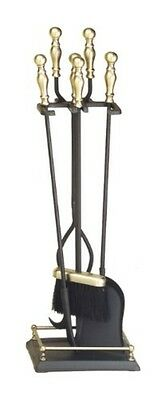 Achla Antique Brass Plated & Black 4-Tool Fire set Iron- X820947 Fire Tool Set