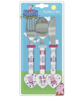 Childrens Peppa Pig Knife Fork Spoon Cutlery Set Age 3 +