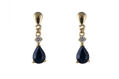 Solid Gold Sapphire Earrings 9 Carat Yellow Natural Stone