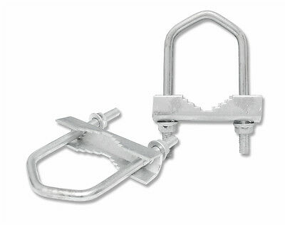 2 X AERIAL SATELLITE POLE V U BOLT CLAMPS (51mm / 40mm)