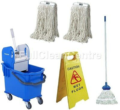 Professional Kentucky Mop Bucket Set - Complete Mop - 2 Extra Refills & Sign
