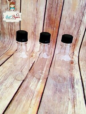 Mini empty plastic alcohol liquor bottle 50ml. Black Lid. Set of 10