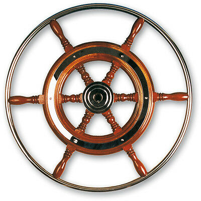 QUALITY TRADITIONAL BOAT STEERING WHEEL MARINE STAINLESS STEEL 370MM MAHOGANY