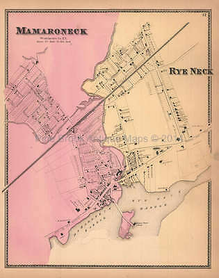 Mamaroneck Rye Neck New York Antique Map Beers 1867 Original