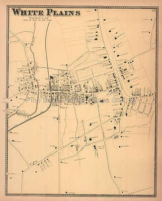 White Plains New York Antique Map Beers 1867 Original