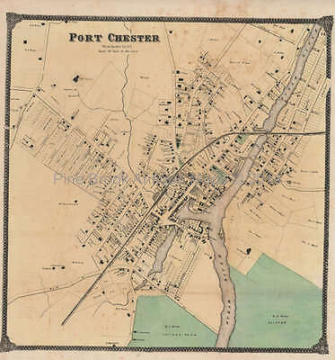 Port Chester New York Antique Map Beers 1867 Original