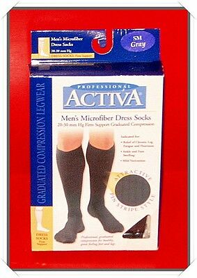 3e4a786f1d Activa H3451 Mens Ribbed Dress Socks 20-30 mmHg - Size & Color- Small