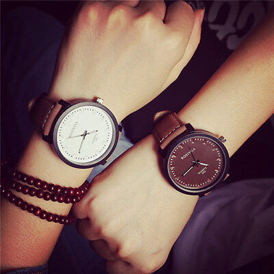 Korea Simple Fashion Black/White Men Women Leather Quartz Analog Wrist Watch