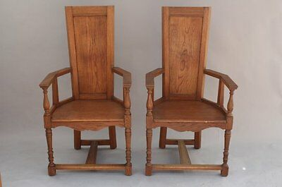 Pair 1910 Armchairs Oak Wood Fits Arts & Crafts Craftsman Home Dining (8009)