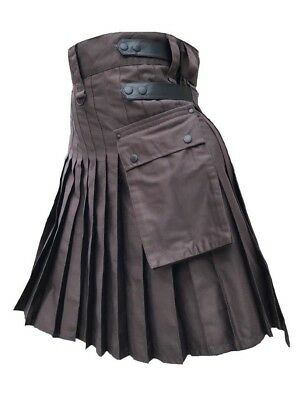 Men's Brown Genuine Leather Straps Fashion Sport Cotton Utility Kilt, Adjustable