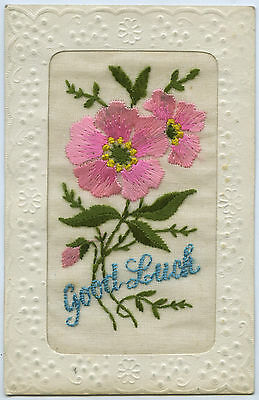 C.1916 WW1 FRENCH SILK EMBROIDERED POSTCARD FLOWERS WITH GOOD LUCK VG CONDIT a54