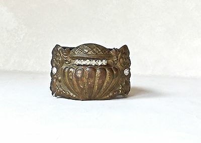 Vintage Victorian upcycled artisan cuff bracelet bronze urn brown leather