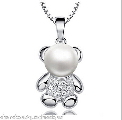 Teddy Bear White Freshwater Pearl Pendant Solid 925 Silver + Free Necklace Chain