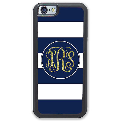 Stripes Monogrammed Gold Glitter Case for iPhone 6 6S - Personalized Hard Rubber