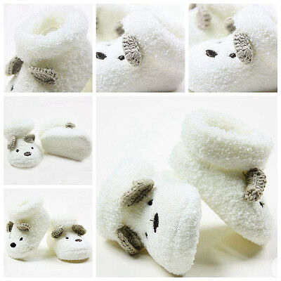 New Newborn Socks Unisex Boy Girls Infant Cute Bear Crib Warm Shoes 0 -12 month