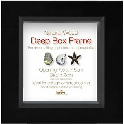 Innova Editions Black White Deep Box Frame 7.5 x 7.5 cm Picture Photo Shadow