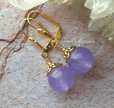 Cute Light Purple Lavender Lilac Earrings Jade Gemstone Gold Plated Lever Backs