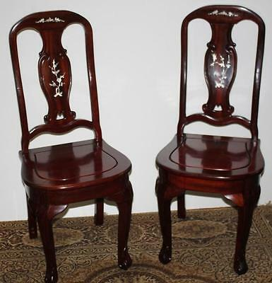 Pair (2) of Mahogany Mother of Pearl Inlaid Dining Chairs - FREE P&P [PL1562]