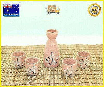 Japanese Traditional Sakura Pattern Pink Color 5 Piece Sake Set Gift Box