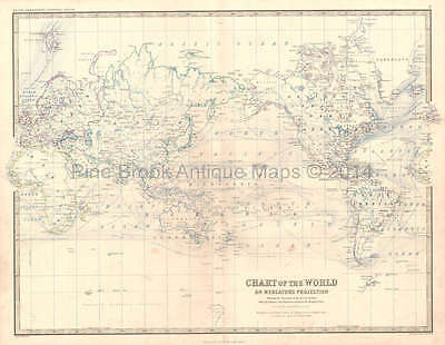 World Mercator's Projection Antique Map Johnston 1864 Original