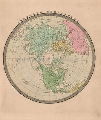 Northern Hemisphere Antique Map Greenleaf 1844 Original
