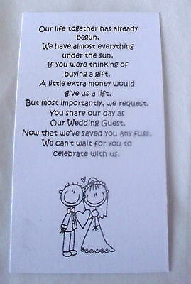 50 Small Wedding Gift Poem Cards asking for Money Bride & Groom Day