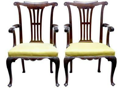 Pair Of 19Th Century Antique Chippendale Influence Mahogany Armchairs Circa 1890