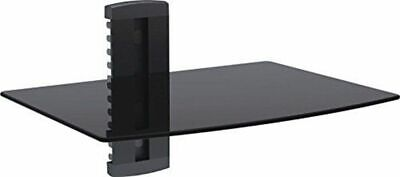 Double Shelf Floating Wall Black Glass DVD BluRay Player Cable Box Switch PS4