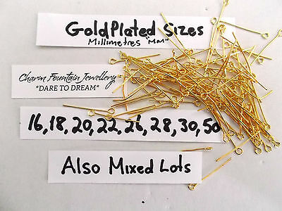 Jewellery Wholesale Bulk Findings Supply Making Eye Pins Mixed Goldplated (P3)