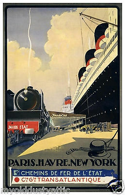 French Line Ocean Liner - 1930's  - Normandie - Travel Poster 11 x 17