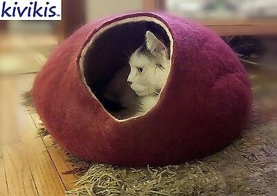 Cat cave bed,house from 100% wool for pet. Kivikis-Color  Burgundy Dark  Size L.