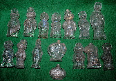 15 antique German figured glass perfume flacons