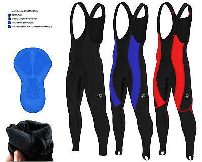Mens Cycling Bib Tights Padded Thermal Long Leggings  Winter Bike Trouser