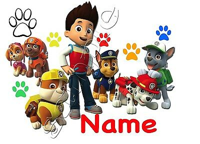 IRON ON TRANSFER PERSONALISED with any name paw patrol chase marshall skye