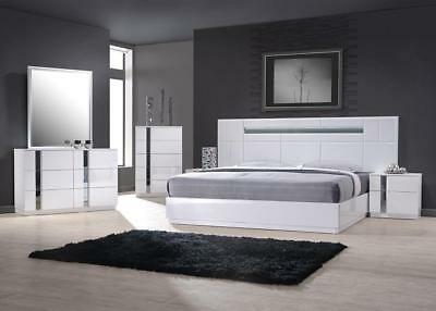 J&M Palermo Contemporary Queen Bedroom Set in White Lacquer and Chrome Set 3 Pcs