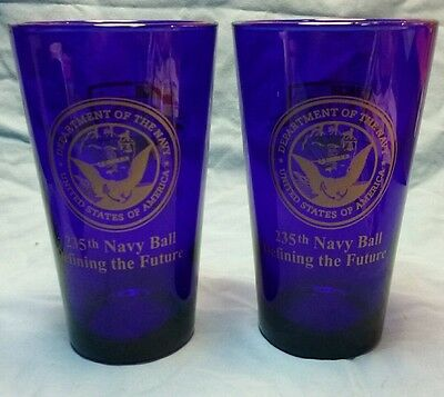 Set of 2 Department of the Navy 235th Navy Ball Cobalt Blue Drinking Glass
