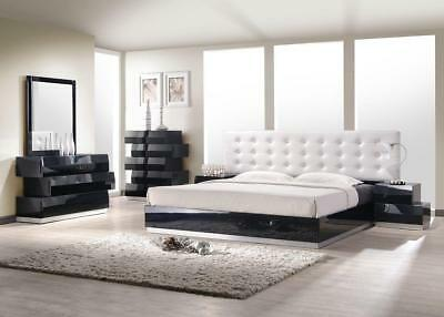 J&M Chic Modern Milan White Lacquer King Size Bed Set Contemporary