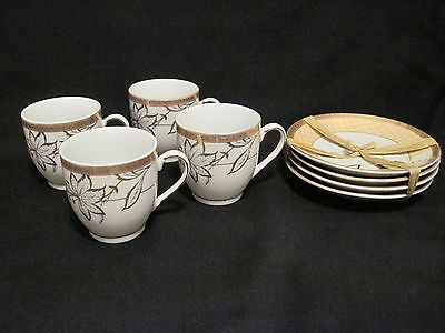 Tea set porcelain gold rim for Alpine cuisine fine porcelain