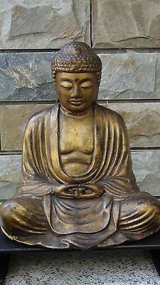 ANTIQUE 19c CHINESE LARGE GILT BRONZE SEATED BUDDHA STATUE ON WOOD STAND