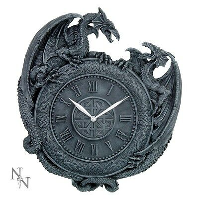 Nemesis Now Dragon Duel Wall Clock 28cm Fighting Dragons Gothic
