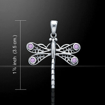 Dragonfly Amethyst Necklace Pendant Peter Stone Fine Sterling Silver WP024