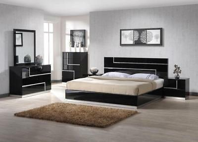 J&M Chic Modern Lucca Black Lacquer With Crystal Accents King Bedroom Set