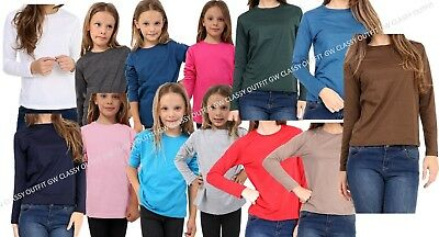 Kids Plain Top Girls Boys Long Tee T Shirt Fit Teen Pe Tops 3 To 14 Years Vest